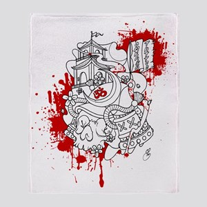 Omkara Samurai Skull Throw Blanket