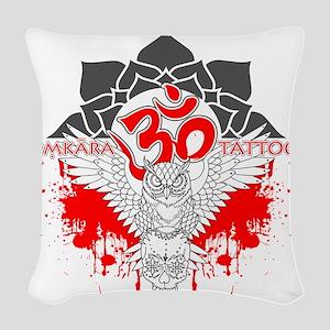 Omkara Tattoo Owl Woven Throw Pillow
