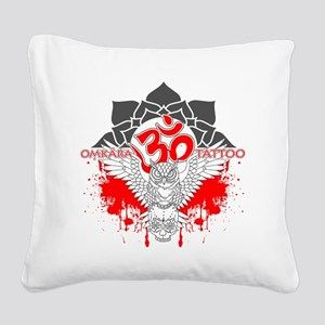 Omkara Tattoo Owl Square Canvas Pillow