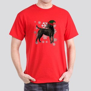 Curly Coated Retriever with elf hat Dark T-Shirt