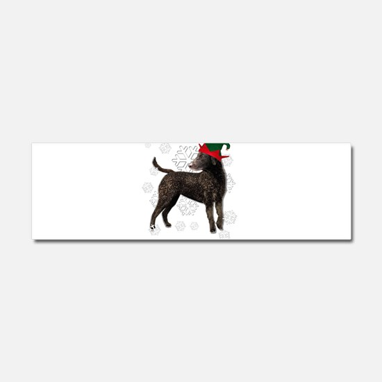 Curly Coated Retriever with elf hat Car Magnet 10