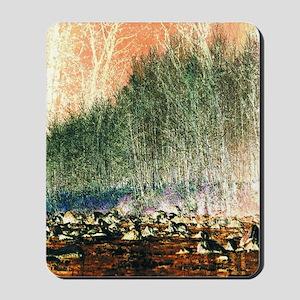 abstract trees river rocks landscape Mousepad