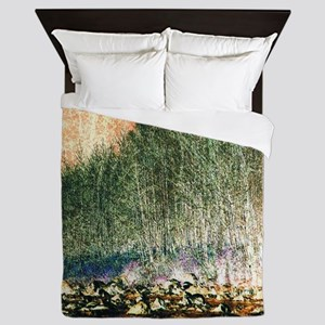 abstract trees river rocks landscape Queen Duvet