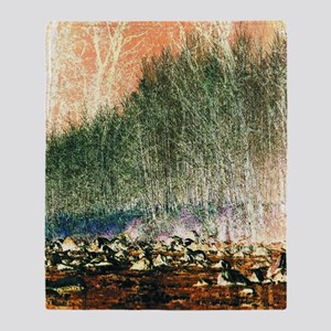 abstract trees river rocks landscape Throw Blanket