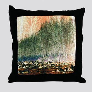 abstract trees river rocks landscape Throw Pillow