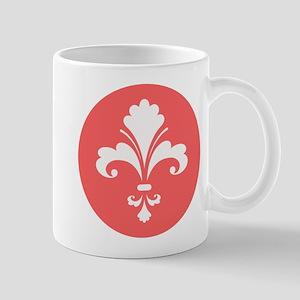 Coral Fleur de lis, round Mugs