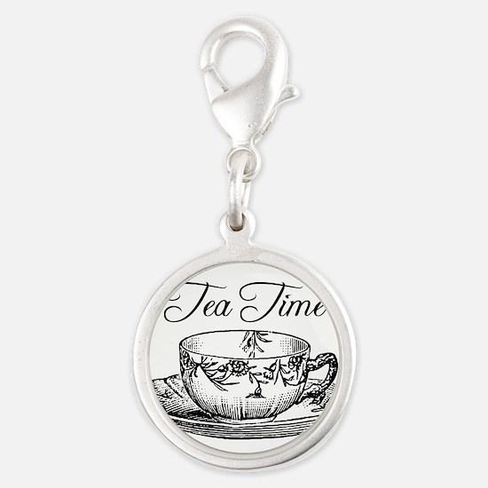 Tea Time Tea Cup Silver Round Charm