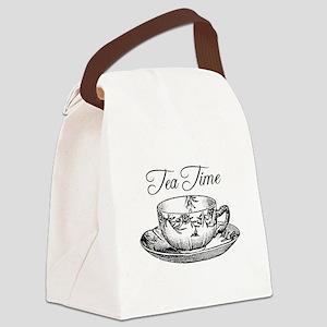 Tea Time Tea Cup Canvas Lunch Bag