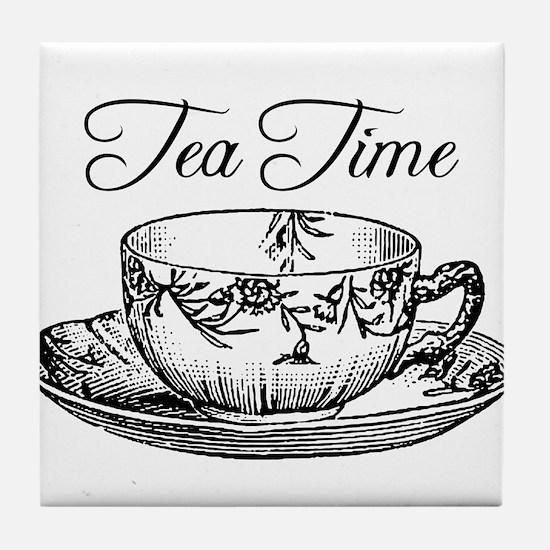 Tea Time Tea Cup Tile Coaster