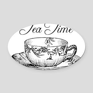 Tea Time Tea Cup Oval Car Magnet