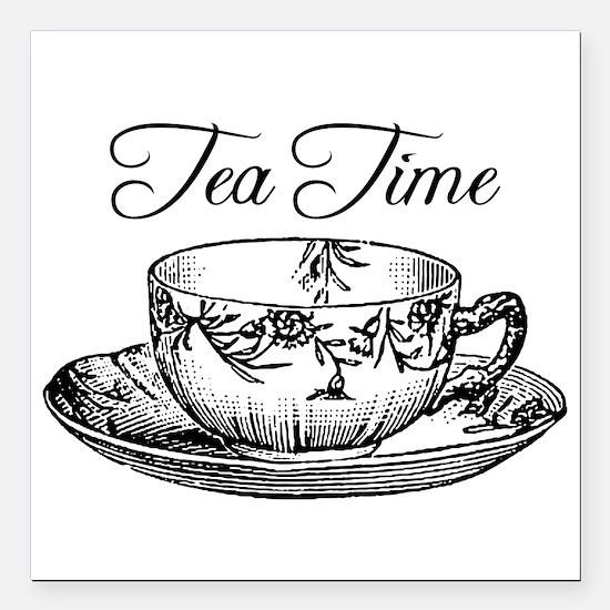 "Tea Time Tea Cup Square Car Magnet 3"" x 3"""