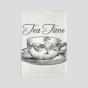 Tea Time Tea Cup Rectangle Magnet