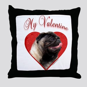 Pug Valentine Throw Pillow