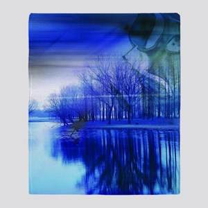blue abstract trees lake landscape Throw Blanket