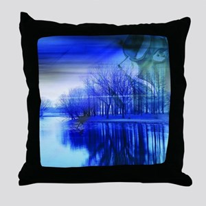 blue abstract trees lake landscape Throw Pillow