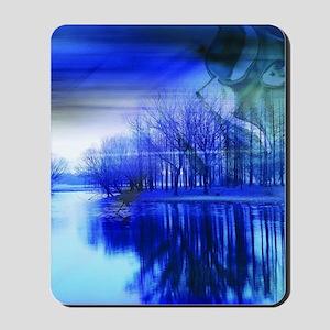 blue abstract trees lake landscape Mousepad
