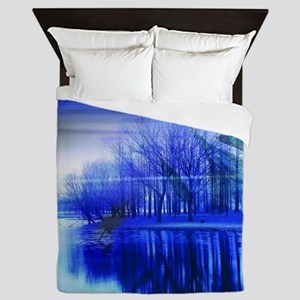 blue abstract trees lake landscape Queen Duvet