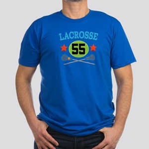 Lacrosse Player Number 55 Men's Fitted T-Shirt (da