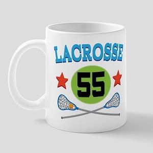 Lacrosse Player Number 55 Mug