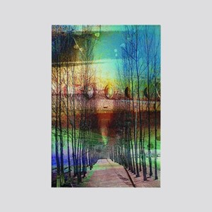 modern trees country road nature  Rectangle Magnet