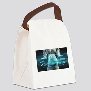 Hands Cradling Glo Canvas Lunch Bag