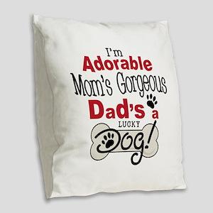 Lucky Dad Burlap Throw Pillow