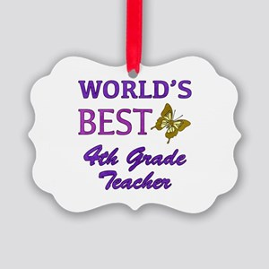 World's Best 4th Grade Teacher Picture Ornament