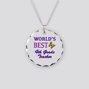 World's Best 4th Grade Teacher Necklace Circle Cha