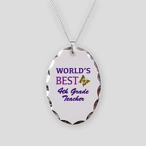 World's Best 4th Grade Teacher Necklace Oval Charm