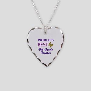 World's Best 4th Grade Teacher Necklace Heart Char