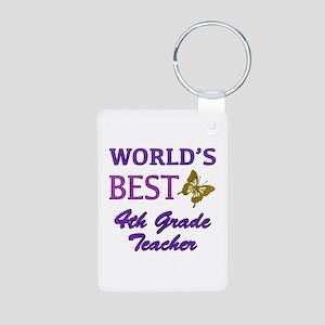 World's Best 4th Grade Teacher Aluminum Photo Keyc