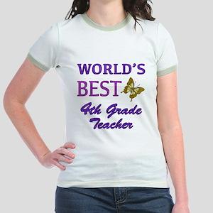 World's Best 4th Grade Teacher Jr. Ringer T-Shirt