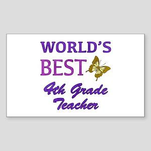 World's Best 4th Grade Teacher Sticker (Rectangle)