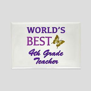World's Best 4th Grade Teacher Rectangle Magnet