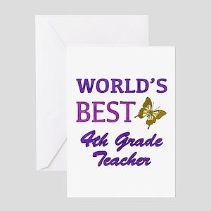 World's Best 4th Grade Teacher Greeting Card