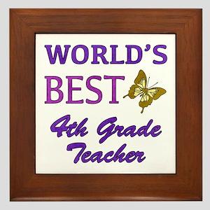 World's Best 4th Grade Teacher Framed Tile