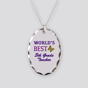 World's Best 5th Grade Teacher Necklace Oval Charm