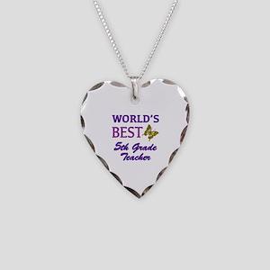 World's Best 5th Grade Teacher Necklace Heart Char