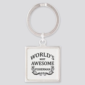 World's Most Awesome Fisherman Square Keychain