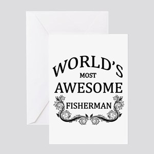 World's Most Awesome Fisherman Greeting Card