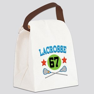 Lacrosse Player Number 67 Canvas Lunch Bag
