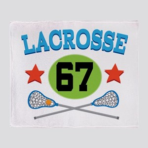 Lacrosse Player Number 67 Throw Blanket