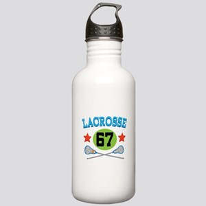 Lacrosse Player Number 67 Stainless Water Bottle 1