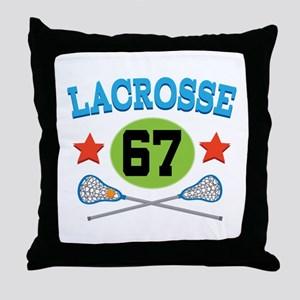 Lacrosse Player Number 67 Throw Pillow