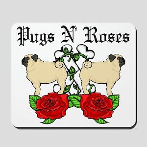 Pugs N Roses Black Text Mousepad
