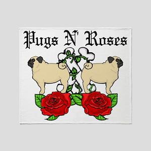 Pugs N Roses Black Text Throw Blanket