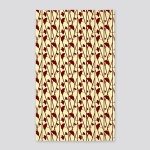 Red Floral On Cream 3'X5' Area Rug