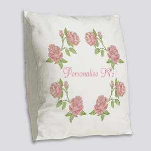 Personalized Rose Burlap Throw Pillow