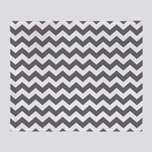 Slate and White Chevrons Throw Blanket