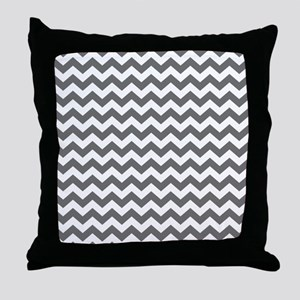 Slate and White Chevrons Throw Pillow